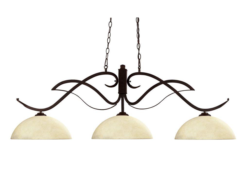 3-Light Bronze Billiard with Golden Mottle Glass Shades - 52 inch