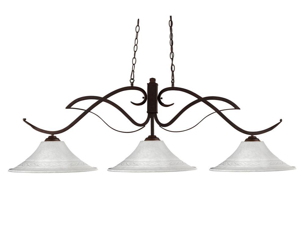 Filament Design 3-Light Bronze Island/Billiard with White Mottle Glass - 54.75 inch