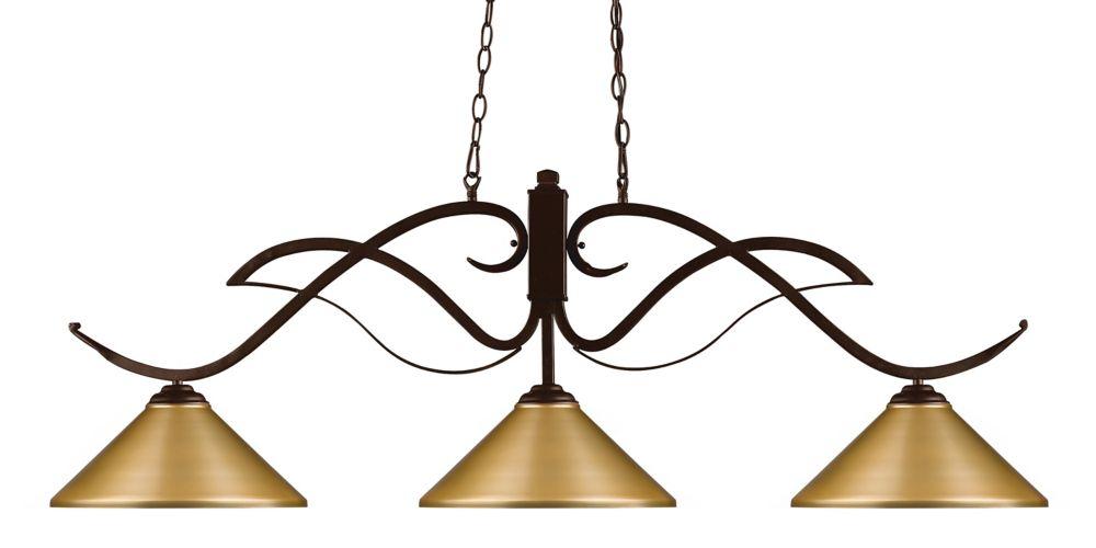 Filament Design 3-Light Bronze Billiard with Satin Gold Steel Shades - 52 inch