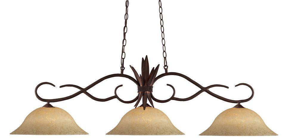 Filament Design 3-Light Bronze Island/Billiard with Golden Mottle Glass - 55.5 inch