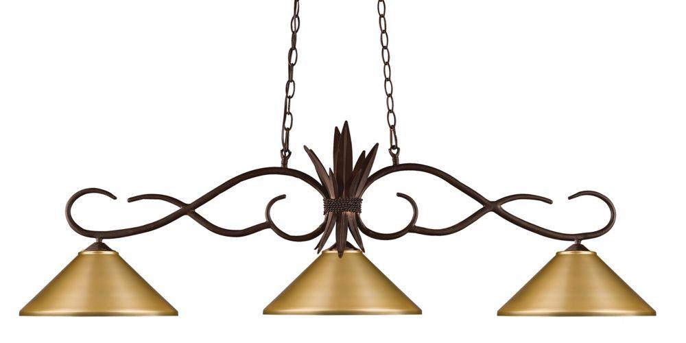 Filament Design 3-Light Bronze Billiard with Satin Gold Steel Shade - 55 inch