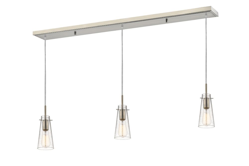 3-Light Brushed Nickel Billiard with Clear Seedy Glass Shades - 46 inch