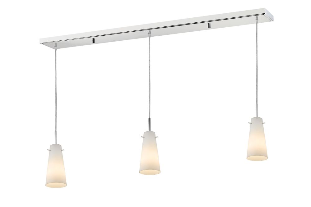 Filament Design 3-Light Chrome Billiard with Matte Opal Glass Shades - 46 inch
