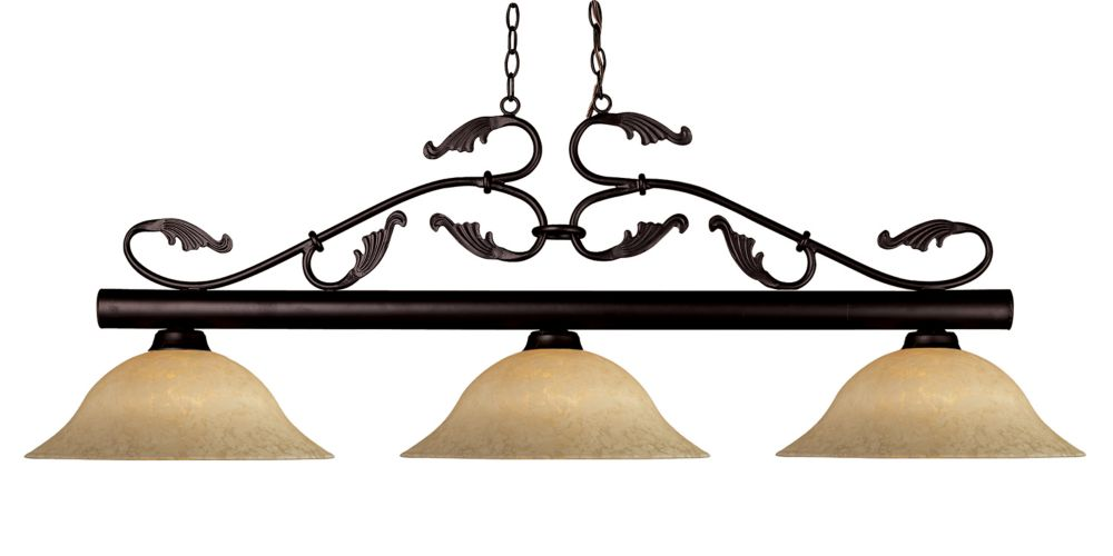 Filament Design 3-Light Bronze Billiard with Golden Mottle Glass