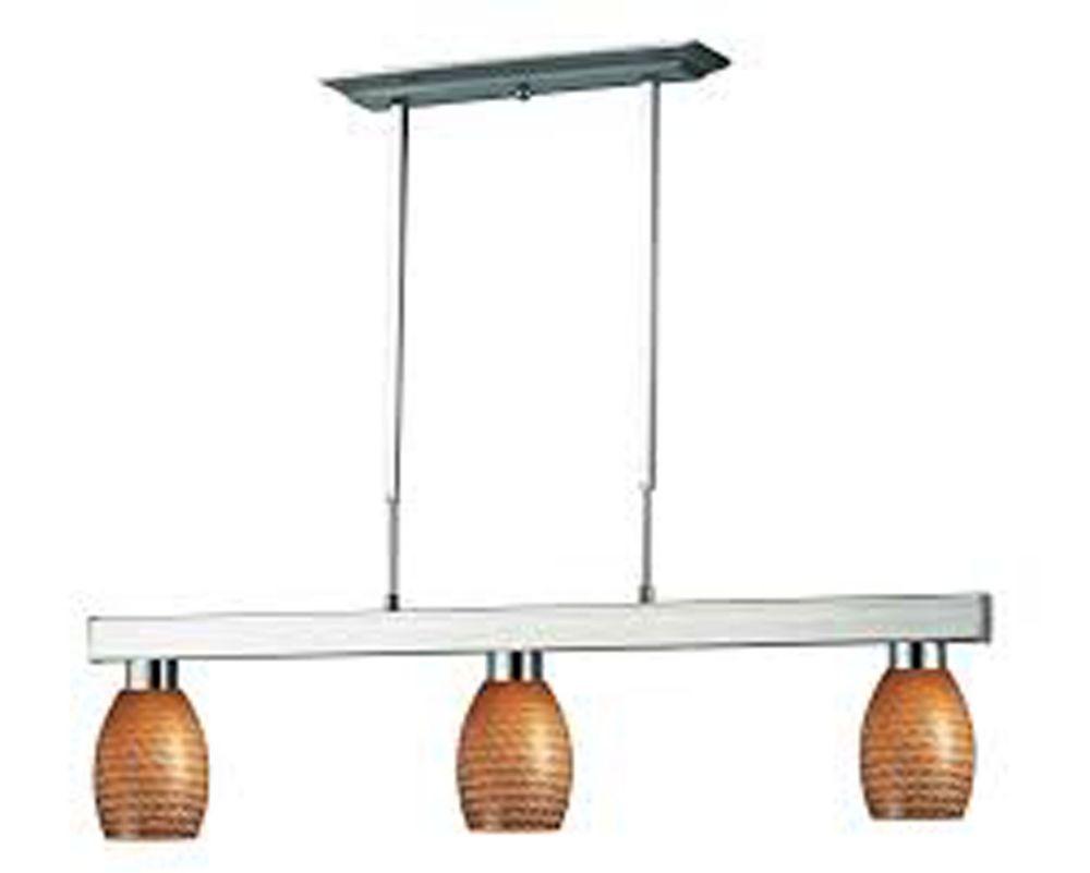 Filament Design 3-Light Brushed Nickel Island/Billiard with Carmel Glass - 42 inch