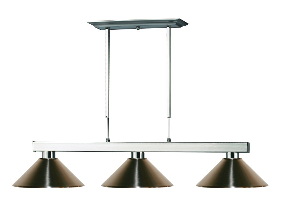 3-Light Brushed Nickel Island/Billiard with Brushed Nickel Steel Shade - 46 inch