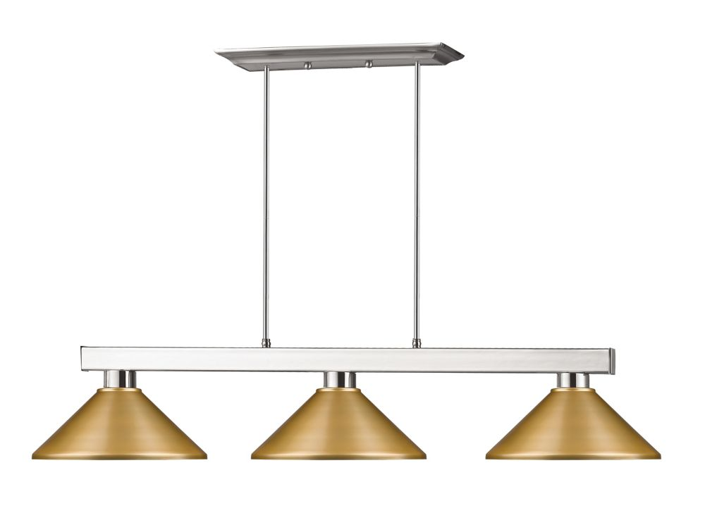 3-Light Brushed Nickel Island/Billiard with Satin Gold Steel Shade - 46 inch