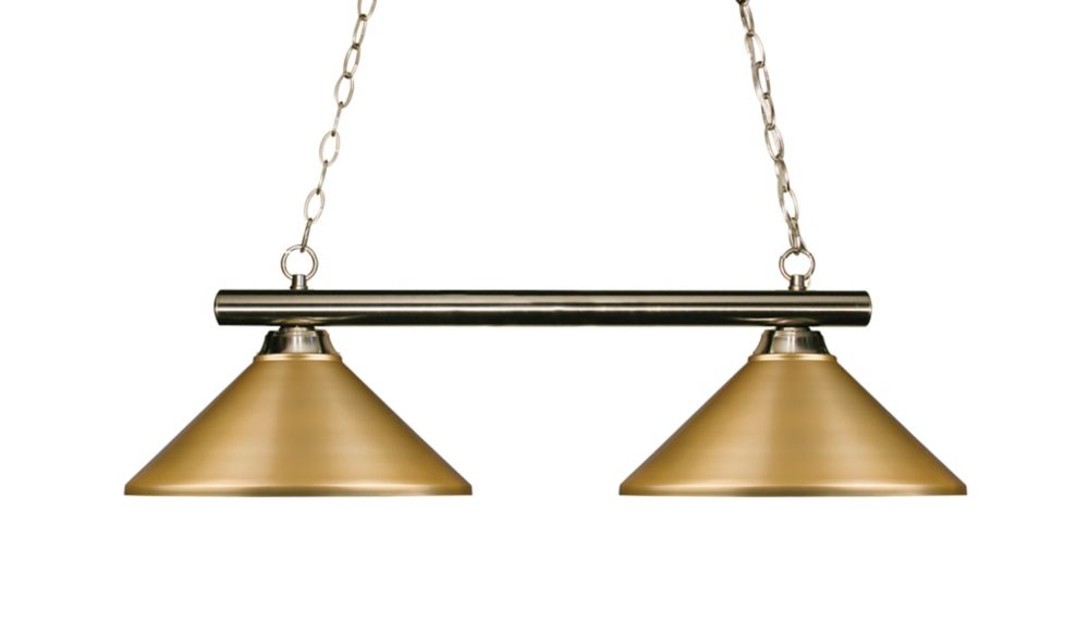 Filament Design 2-Light Brushed Nickel Island/Billiard with Satin Gold Steel Shade - 42 inch