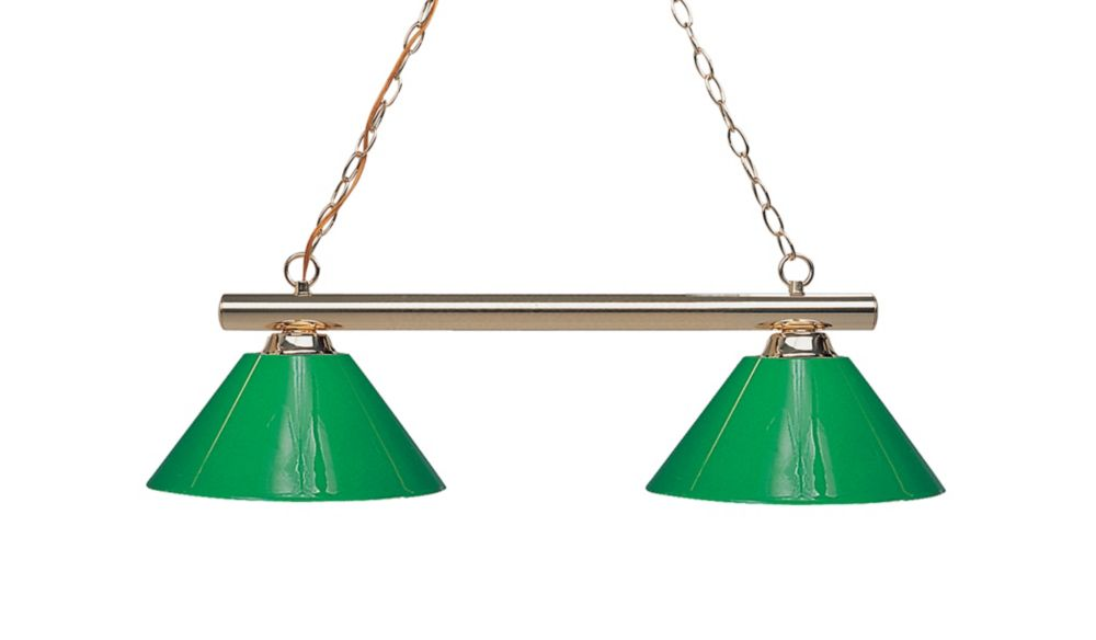 Filament Design 2-Light Polished Brass Island/Billiard with Green Plastic - 42 inch