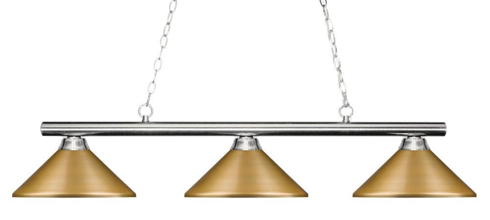 3-Light Chrome Island/Billiard with Satin Gold Steel Shade - 48 inch