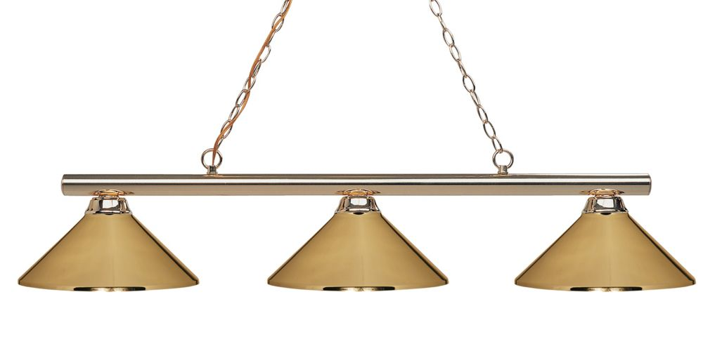 3-Light Polished Brass Island/Billiard with Polished Brass Steel Shade - 48 inch