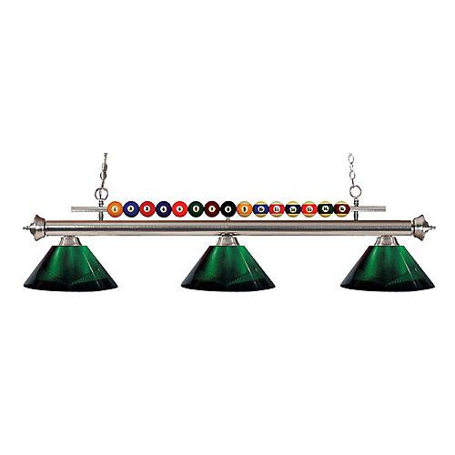 Island / Billard à 3 ampoules nickel brossé avec abat-jour en acrylique vert - 58 pouces
