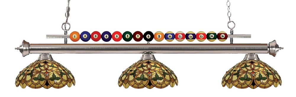 3-Light Brushed Nickel Billiard with Multi Colored Tiffany Glass