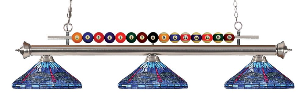 3-Light Brushed Nickel Island/Billiard with Tiffany Glass Shades