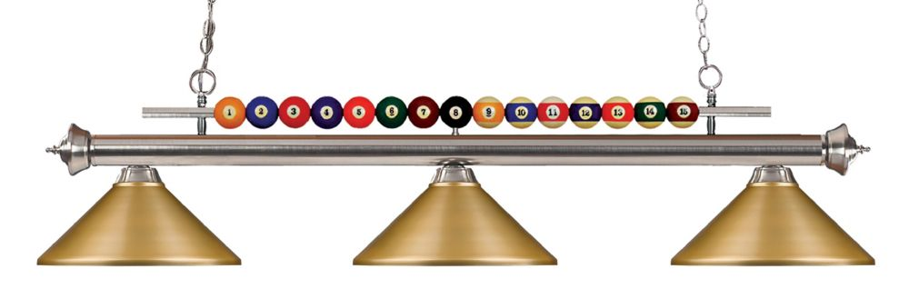 Filament Design 3-Light Brushed Nickel Island/Billiard with Satin Gold Steel Shade - 58 inch