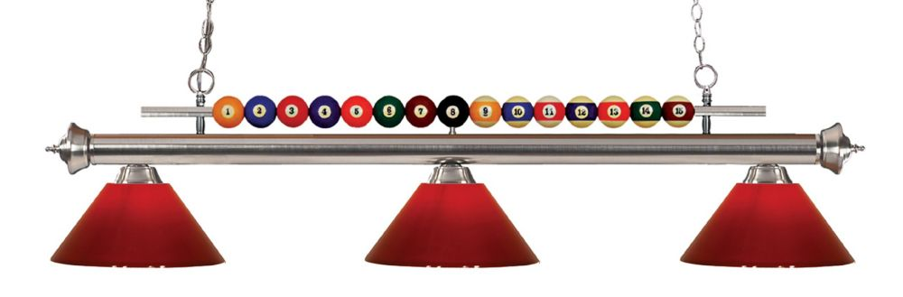 3-Light Brushed Nickel Island/Billiard with Red Plastic - 58 inch