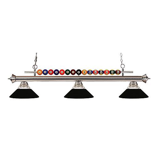 Island Light à 3 ampoules au fini nickel brossé avec abat-jours en verre et acier noirs côtelés et noir mat