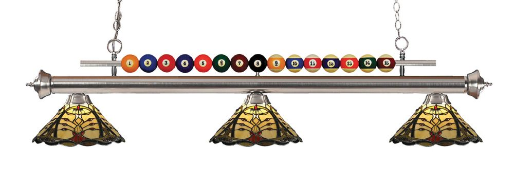 3-Light Brushed Nickel Billiard with Tiffany Glass