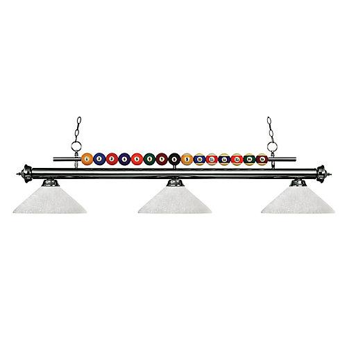 Billard métallique et îlot à 3 ampoules avec verre de lin blanc - 58 pouces