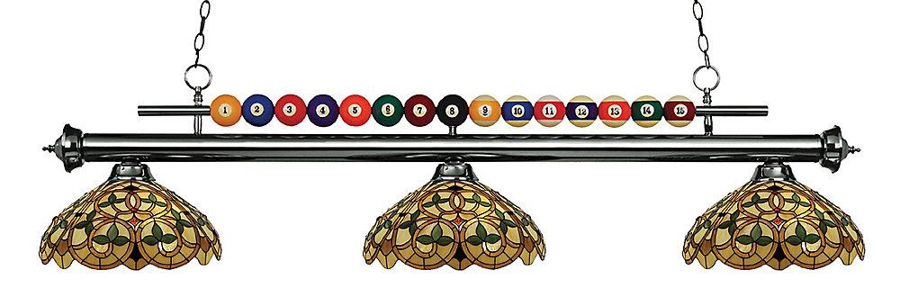3-Light Gun Metal Billiard with Multi Colored Tiffany Glass