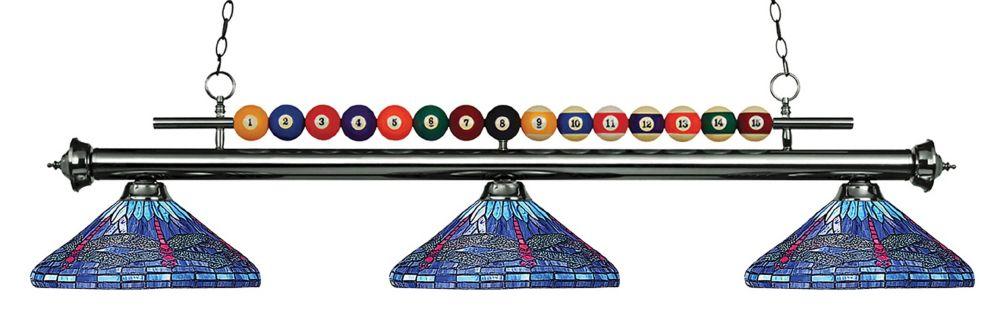 3-Light Gun Metal Island/Billiard with Multi Colored Tiffany Glass - 60 inch