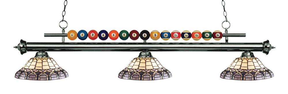 3-Light Gun Metal Billiard with Tiffany Glass - 58 inch