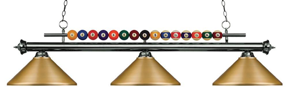 Filament Design 3-Light Gun Metal Island/Billiard with Satin Gold Steel Shade - 58 inch