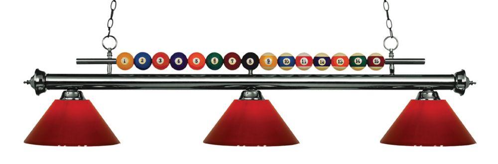 Filament Design 3-Light Gun Metal Island/Billiard with Red Plastic - 58 inch