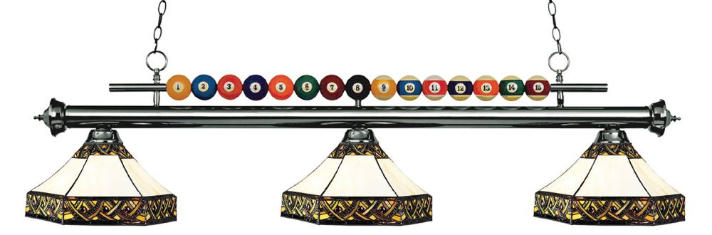 3-Light Gun Metal Billiard with Multi Colored Tiffany Glass - 60 inch