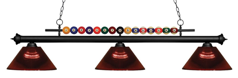 Filament Design 3-Light Matte Black Island/Billiard with Burgundy Acrylic Shade - 58 inch