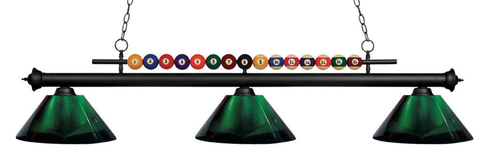 Filament Design 3-Light Matte Black Island/Billiard with Green Acrylic Shade - 58 inch