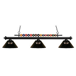 Filament Design Billard noir mat et 3 lumières avec abat-jour en acrylique fumée - 58 pouces