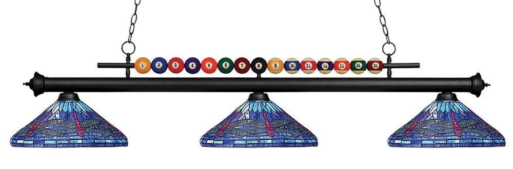 3-Light Matte Black Billiard with Multi Colored Tiffany Glass Shades