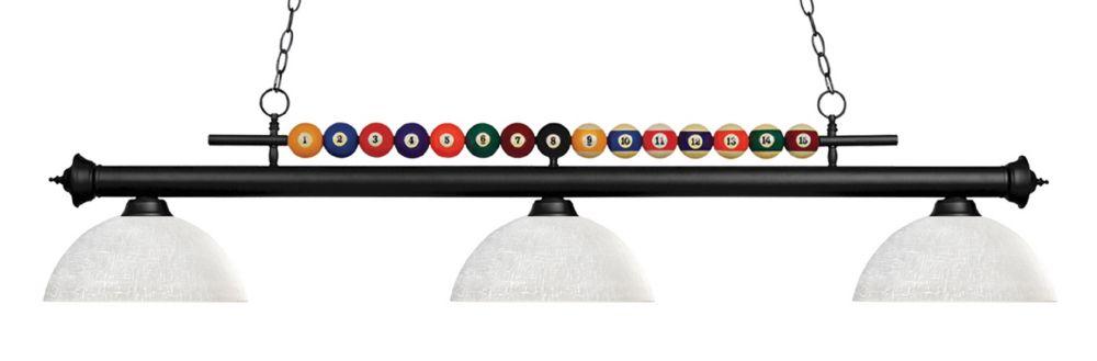 3-Light Matte Black Island/Billiard with White Linen Glass - 58 inch