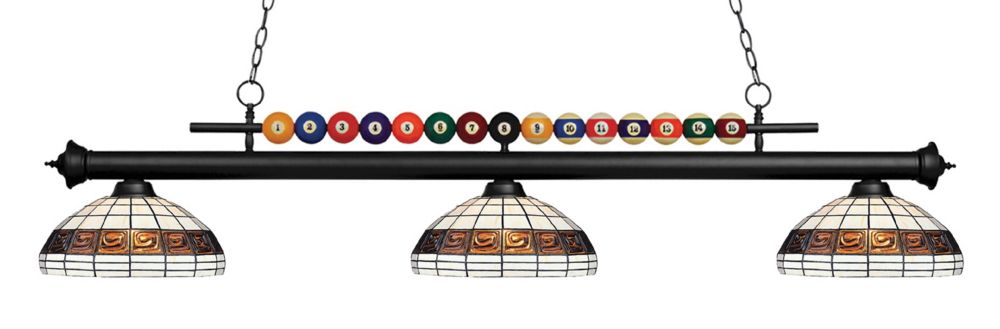 3-Light Matte Black Island/Billiard with Multi Colored Tiffany Glass Shades