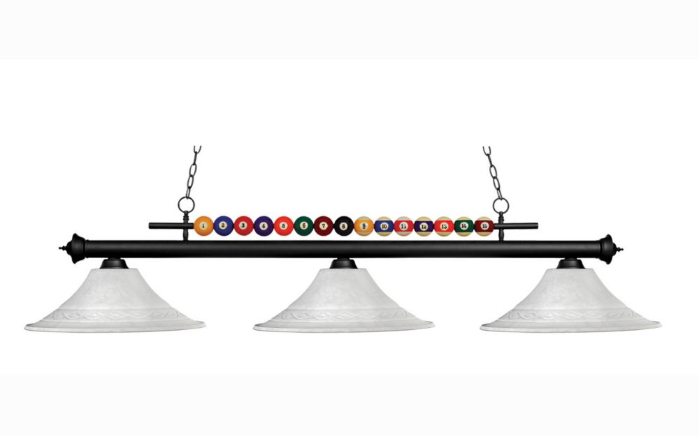 Filament Design 3-Light Matte Black Billiard with White Mottle Glass