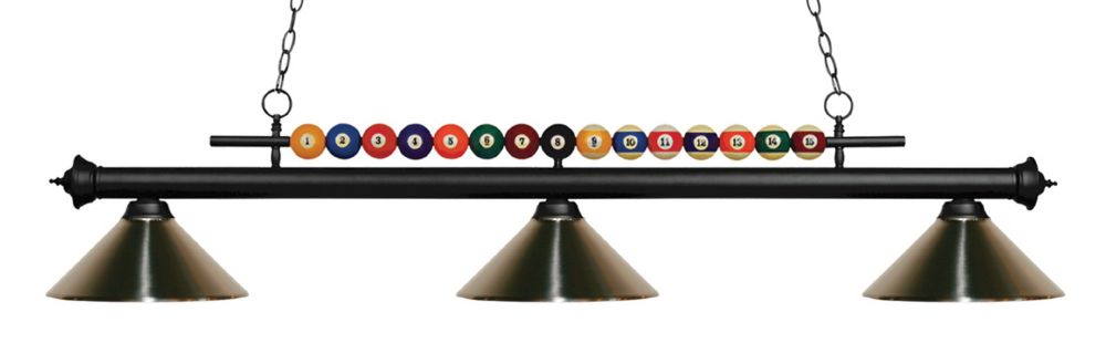 3-Light Matte Black Island/Billiard with Brushed Nickel Steel Shade - 58 inch
