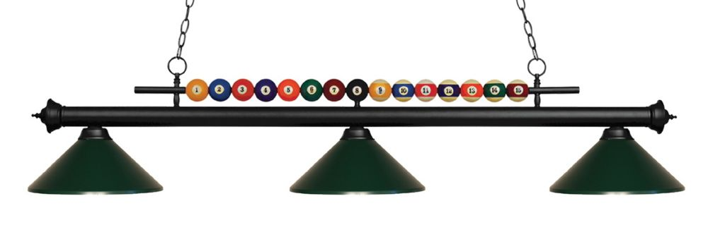 Filament Design 3-Light Matte Black Island/Billiard with Dark Green Steel Shade - 58 inch