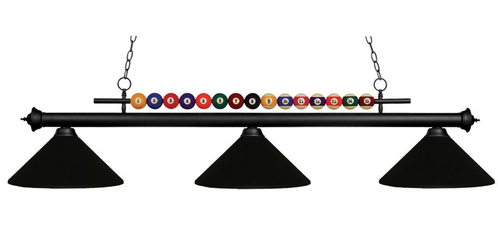 3-Light Matte Black Billiard with Matte Black Steel Shade
