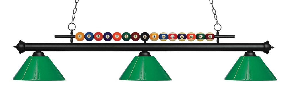 Filament Design 3-Light Matte Black Island/Billiard with Green Plastic - 58 inch