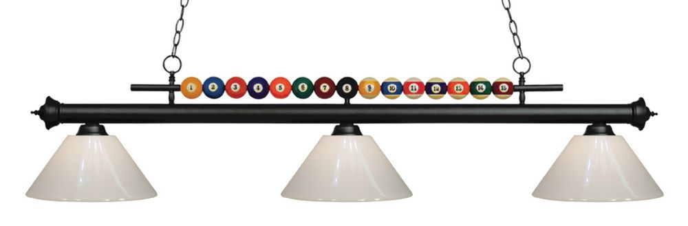 Filament Design 3-Light Matte Black Island/Billiard with White Plastic - 58 inch