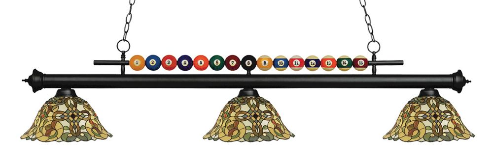 Filament Design 3-Light Matte Black Billiard with Tiffany Glass - 58 inch