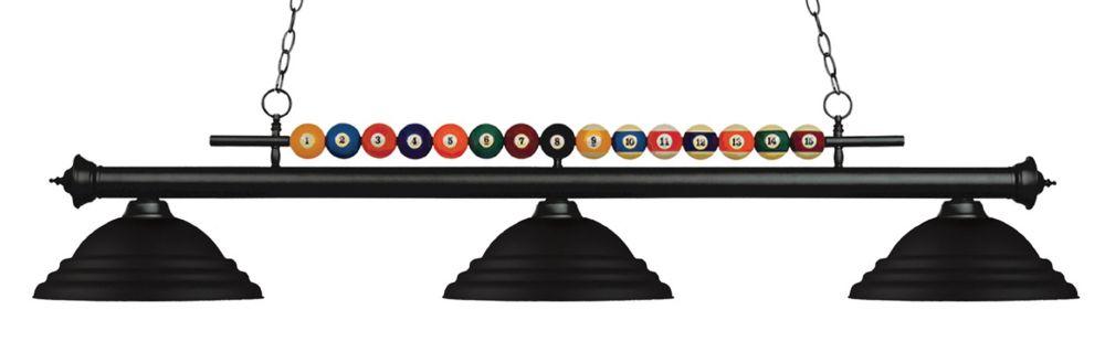 3-Light Matte Black Billiard with Matte Black Steel Shade - 60 inch