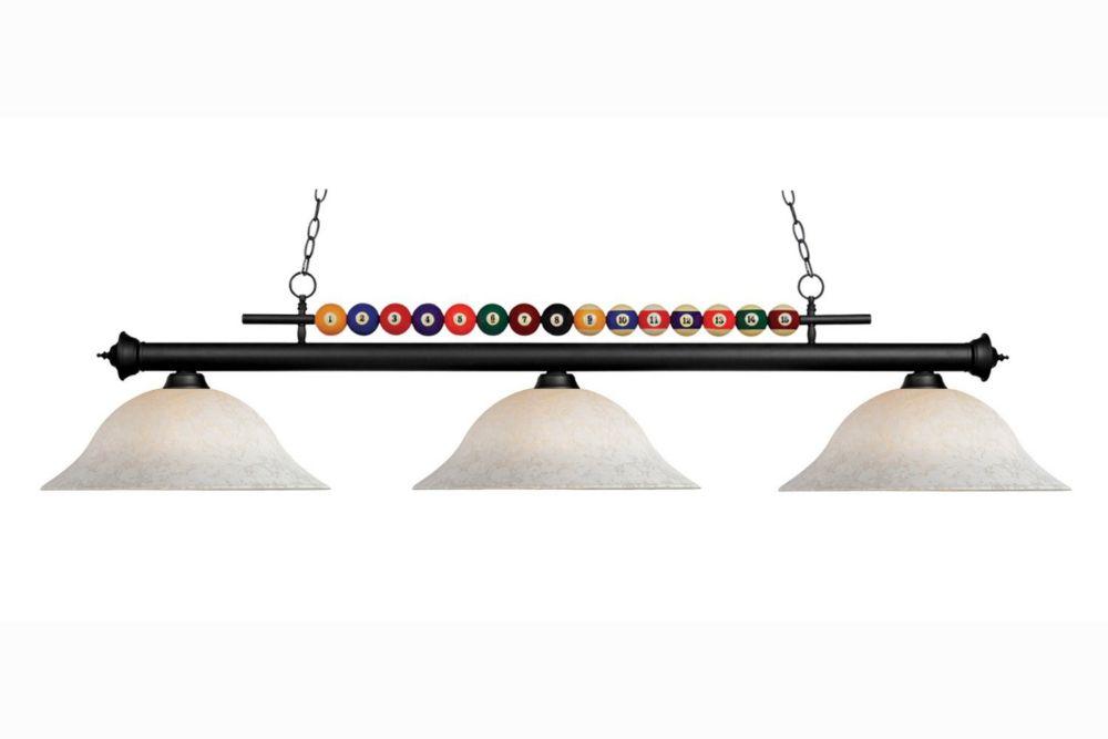 Filament Design 3-Light Matte Black Billiard with White Mottle Glass - 60 inch