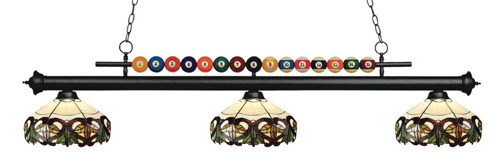 3-Light Matte Black Billiard with Tiffany Glass