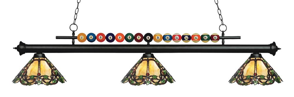3-Light Matte Black Island/Billiard with Tiffany Glass - 58 inch
