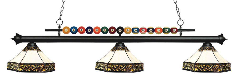 3-Light Matte Black Island/Billiard with Multi Colored Tiffany Glass - 60 inch