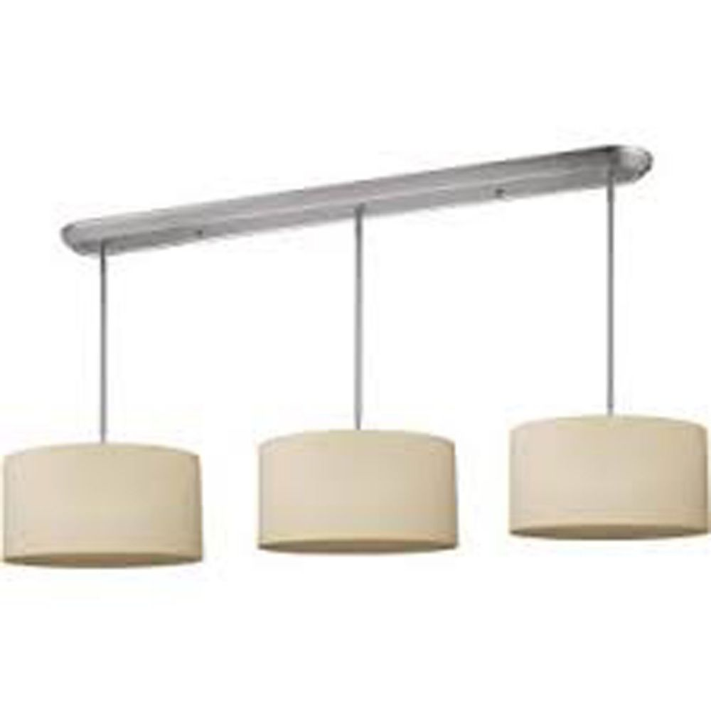 9-Light Brushed Nickel Island/Billiard with Crème Linen Fabric Shade - 60 inch
