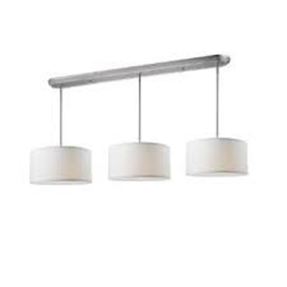 Filament Design 9-Light Brushed Nickel Island/Billiard with White Linen Fabric Shade - 60 inch