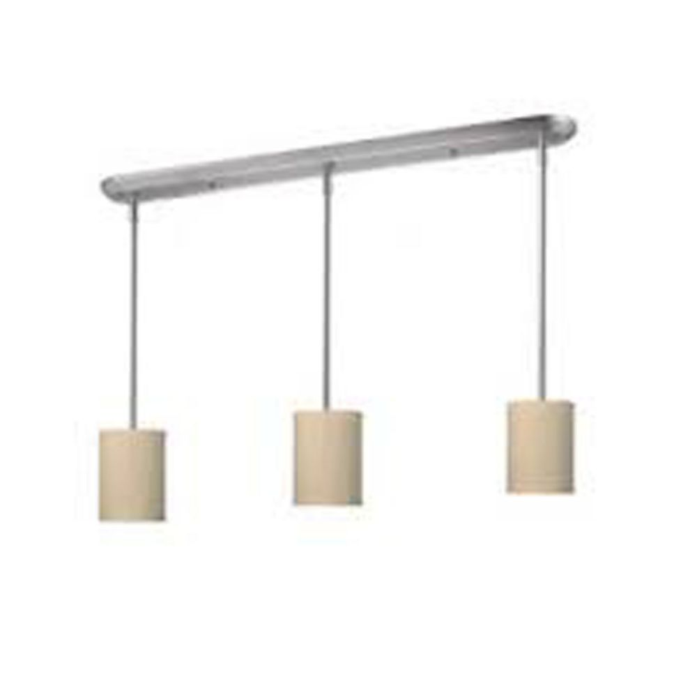 3-Light Brushed Nickel Island/Billiard with Crème Linen Fabric Shade - 48 inch